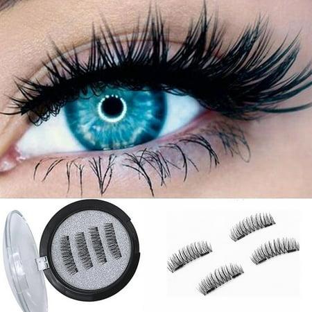 166eac64b47 Magnetic False Eyelashes,4pcs 3D Natural Double Magnet Adhesive Free No  Glue Reusable Handmade Magnet Eye lashes Extension - Walmart.com