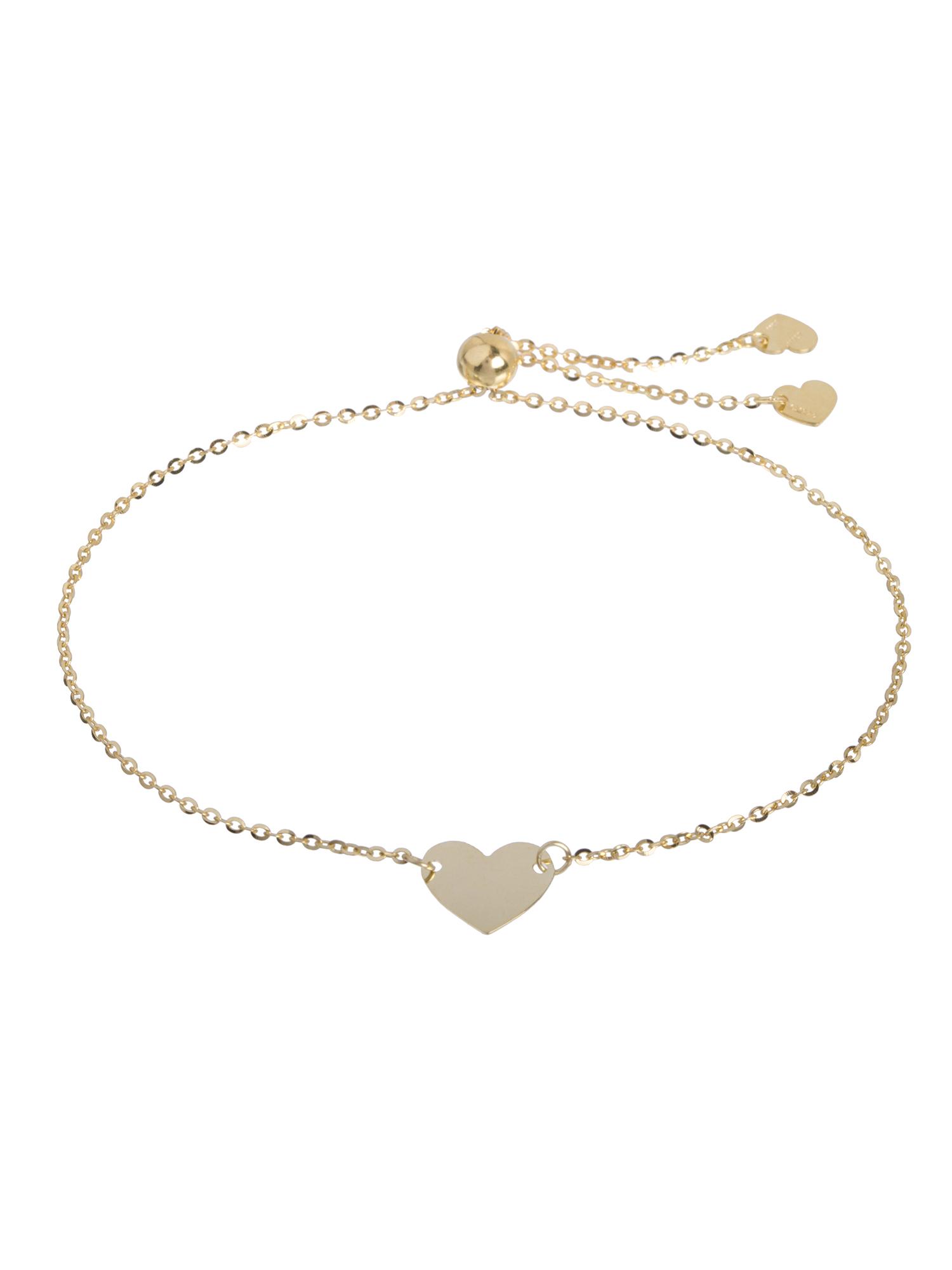 "10kt Yellow Gold Adjustable Heart Bracelet 9"""