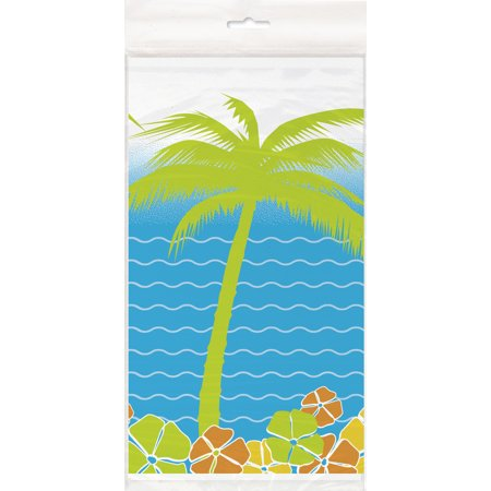Unique Hawaiian Paradise Island Luau Party Plastic 84'' Plastic Tablecover