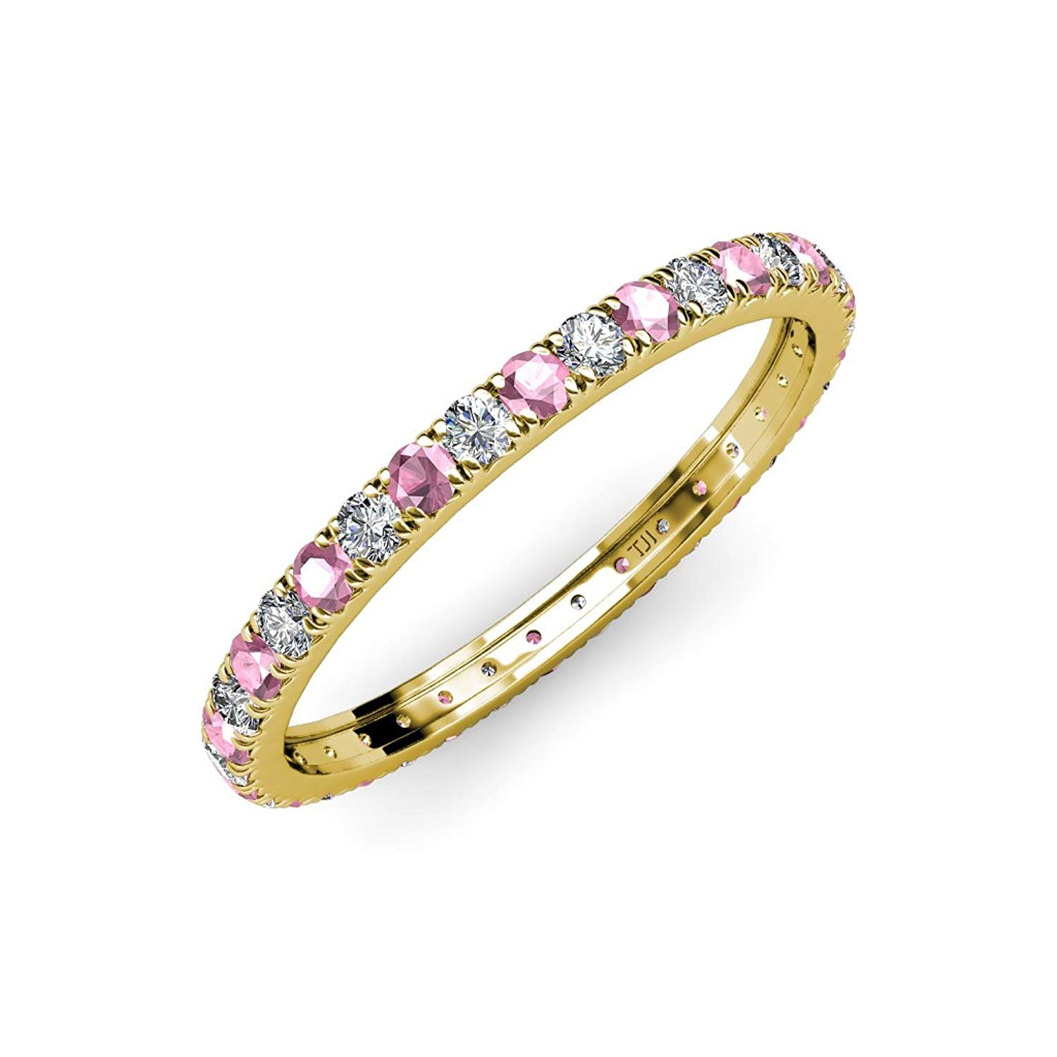Pink Tourmaline and Diamond French Set Eternity Band 0.70 ct tw to 0.84 ct tw in 14K White Gold.size 8.0 by TriJewels