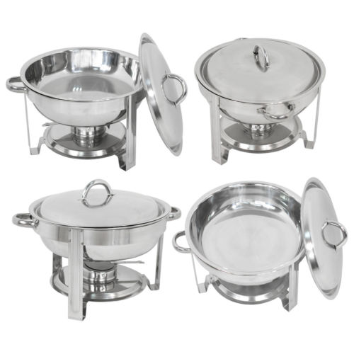 4 Pack Buffet Catering Stainless Steel Chafer Round Chafing Dish 5Qt Party Pack by