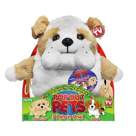 - Dogs, Reversible Plush Toy, Get 3 Stuffed Animals in One - Bulldog, Golden Labrador & Beagle, 8 in., fabric By Pop Out Pets