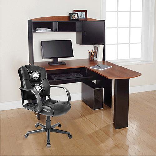 Mainstays L-Shaped Desk with Hutch and Relaxzen 2-Motor Mid-Back Leather Office Massage Chair Value Bundle