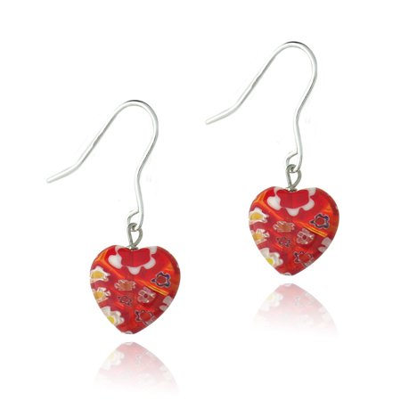 Valentines Day Pierced Heart - Sterling Silver Murano Glass Red Oval Flower Millefiori Heart Earrings Valentine's Day