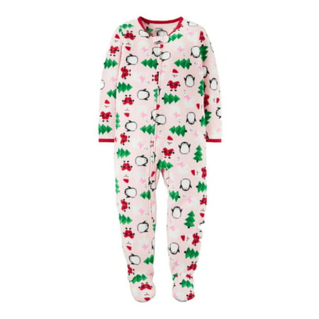4d90f6a301 Child of Mine by Carter s - Carters Infant   Toddler Girls Pink Christmas  Fleece Pajama Blanket Sleeper - Walmart.com