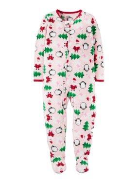 Carters Infant & Toddler Girls Pink Christmas Fleece Pajama Blanket Sleeper