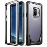 Poetic Guardian [Scratch Resistant Back] [360 Degree Protection]Full-Body Rugged Clear Hybrid Bumper Case with Built-in-Screen Protector for Samsung Galaxy S9 Black