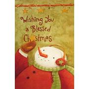 Snowman Wishing Christmas House Flag Religious Inspirational Holiday Yard Banner