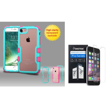 Insten for iPhone 7 - Clear Screen Protector + Teal Green Frame+Transparent PC Back/Pink TUFF Hybrid Case