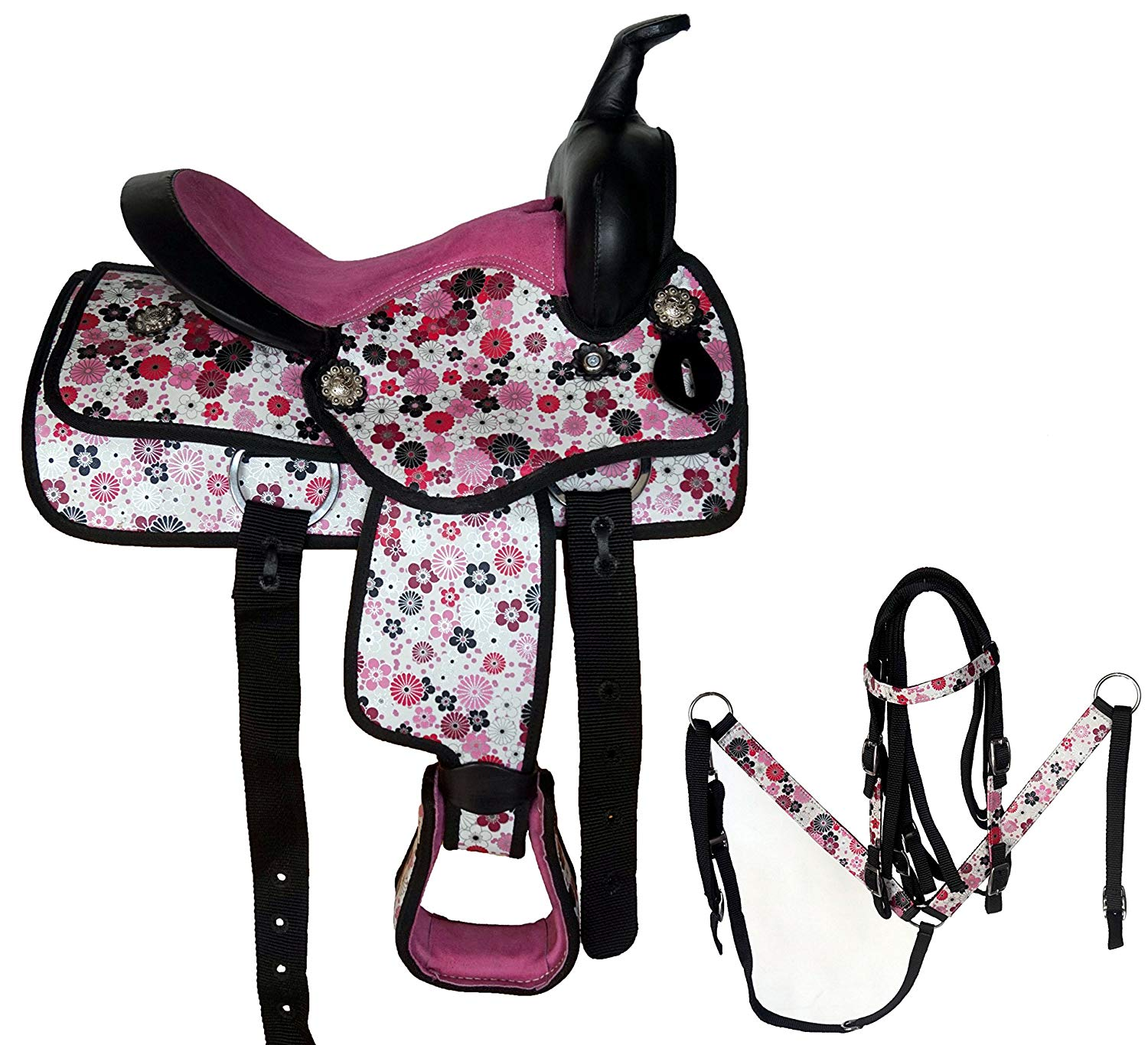 "Equitem 12"" Pink Floral Synthetic Western Saddle with Headstall & Breast Collar"