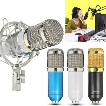 BM-800 Pro Condenser Microphone Studio Kit Studio Recording Microphone with Shock Mount Holder, Audio Cable, BOP cover Kit ()