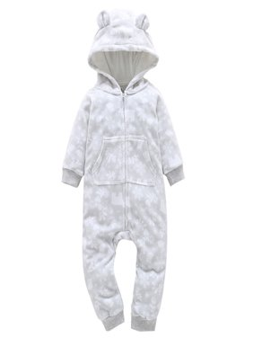 0-3y Newborn Toddler Baby Boy Girl Autumn Winter Clothes Long Sleeve Zipper 3d Ear Hooded Romper Jumpsuit Playsuit Warm Outfits High Standard In Quality And Hygiene Rompers Mother & Kids