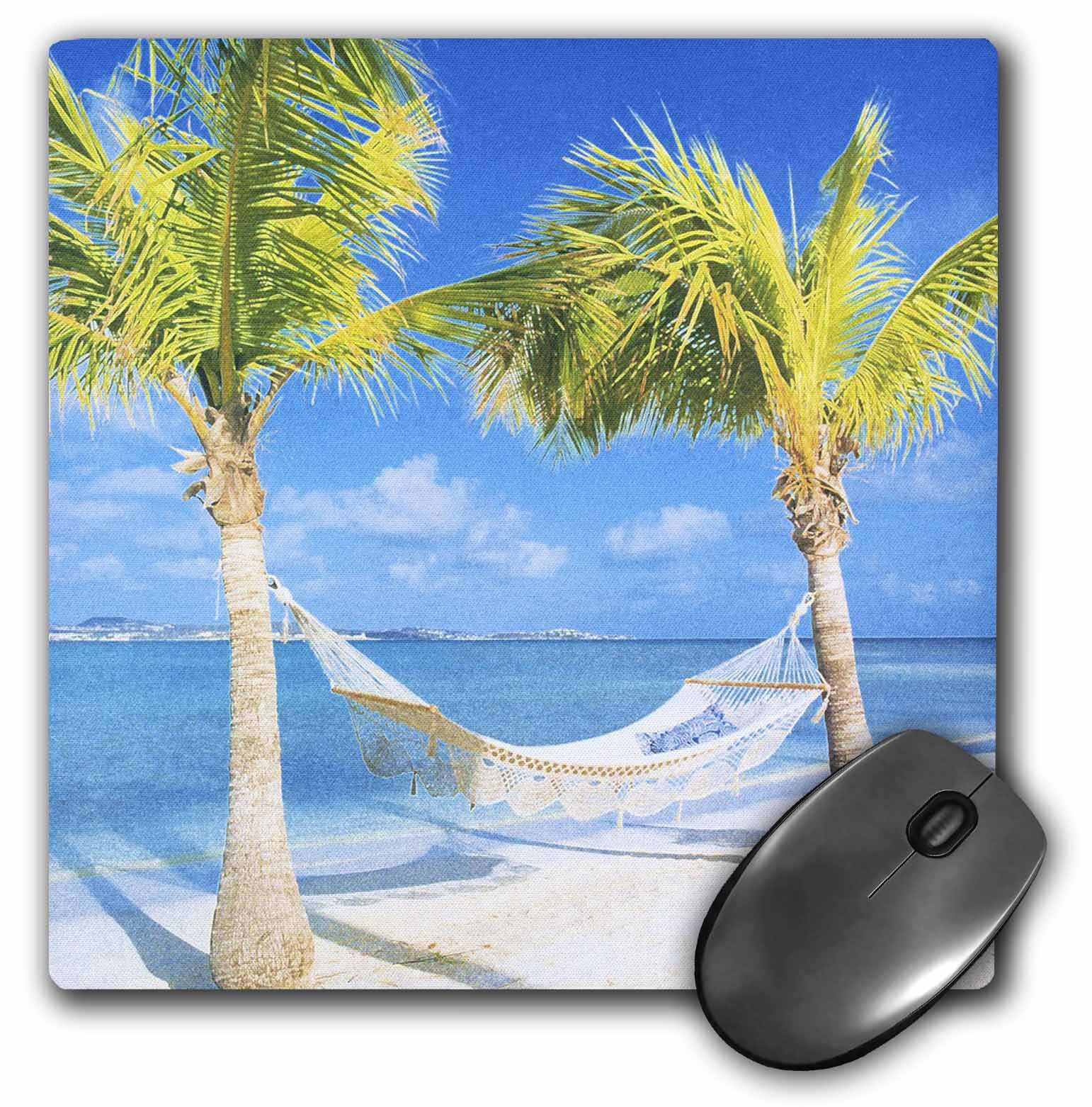 3dRose Palm Trees and Hammock With Ocean, Mouse Pad, 8 by 8 inches
