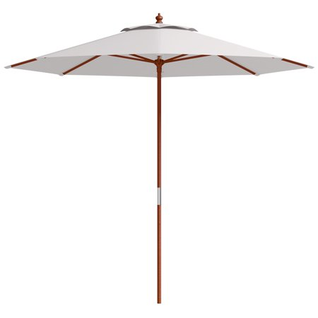 Costway Adjustable 9FT Wooden Patio Umbrella Wood Pole Outdoor Garden Sun Shade Beige ()