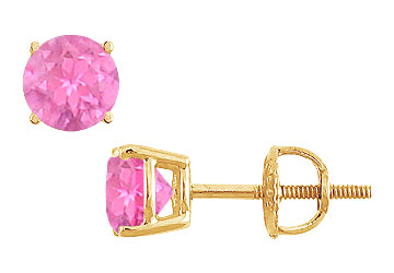 14K Yellow Gold Prong Set Pink Sapphire Stud Earrings 0.75 CT TGW by Yellow-Gold Pins