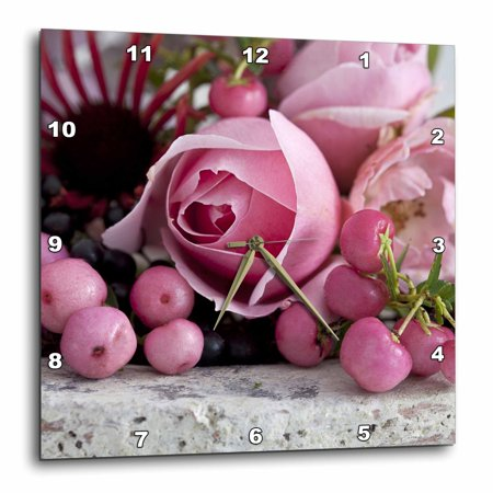 State Pink Wall Clock (3dRose Romantic Rose Still Life With Pink Berries Photography - Wall Clock, 15 by 15-inch)