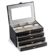 Black Leather 4-Level Jewelry Box - 11.75W x 7.75H in.