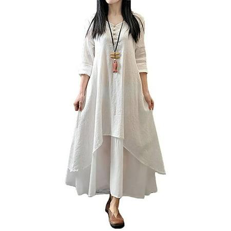 Women Boho Dress Casual Irregular Maxi Dresses Layered Vintage Loose Long Sleeve Linen Dress