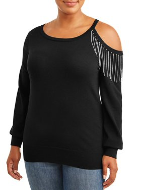 Paper Tee Juniors' Plus Size Cold Shoulder Sweater with Rhinestone Trim