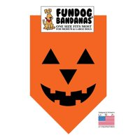 Fun Dog Bandana - Pumpkin - One Size Fits Most for Med to Lg Dogs, orange pet scarf