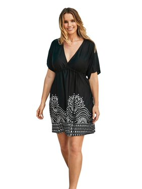 Woman Within Plus Size Foil-print Swim Cover Up