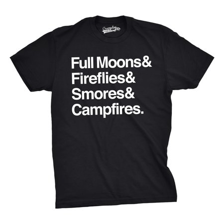 Crazy Dog Tshirts   Mens Full Moons Fireflies Smores Campfires Funny Summertime Camping Nature T Shirt