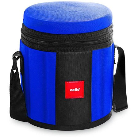 Cello Kingston 4 Stainless Steel Containers Insulated Tiffin Lunch Box with 2 Spoons & Plastic Container, Blue