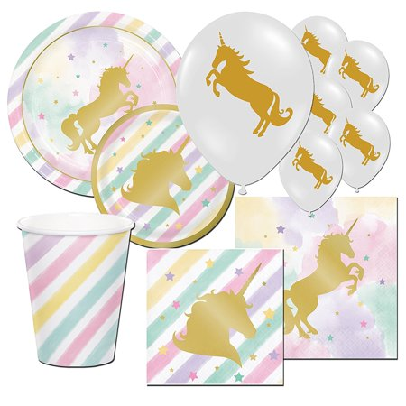 Premium Unicorn Sparkle Pony Girl's Childrens Birthday Party Tableware Balloon Pack Kit For 16, 16 paper 9oz beverage cups, By Balloons and Party