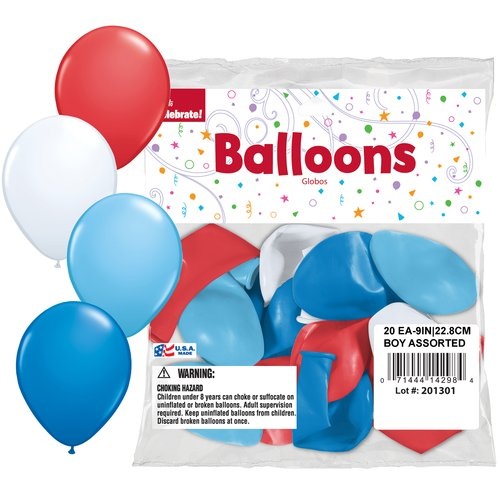 "Way to Celebrate 9"" Plain Assorted Boy Balloons, 20pk"