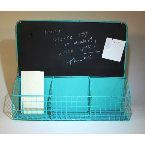 Metrotex Designs 3 Divided Mesh Compartments Wall Organizer Wall Mounted Magnetic Chalkboard, 1.75' x 2'