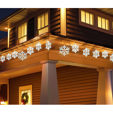 Holiday Time Twinkling Snowflake Icicle Light Set Comes With 105 Lights  White Wire Blue Bulbs, 9 Count - Walmart.com - Holiday Time Twinkling Snowflake Icicle Light Set Comes With 105