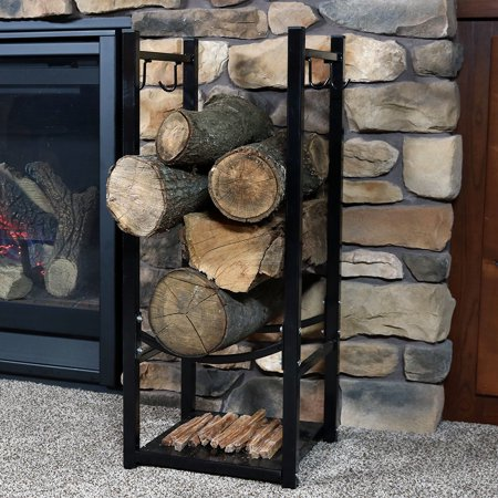 Sunnydaze Firewood Log Rack with Tool Holders, Indoor or Outdoor Wood Storage, Black ()