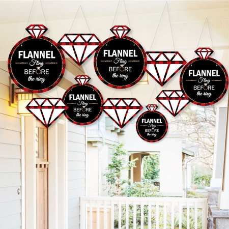 Hanging Flannel Fling Before The Ring - Outdoor Buffalo Plaid Bachelorette Party Hanging Porch & Tree Yard Decor - 10 Ct