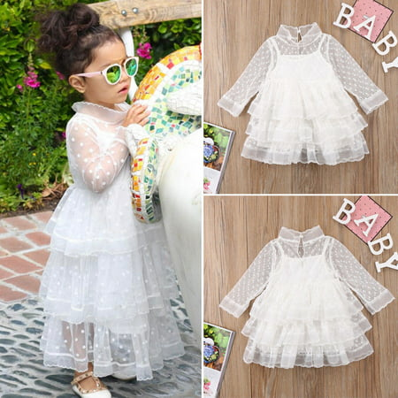 89106be3441eb Sweet Toddler Baby Kids Girls Dress Lace Tulle Long Sleeve Dress Party  Pageant Wedding Birthday Princess Dress White 2-3 Years