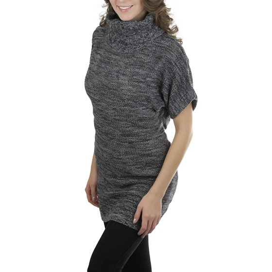 e9b07bcaf46 ToBeInStyle Women's Heavy Knit Sweater Tunic with Wide Fold-Over Turtleneck