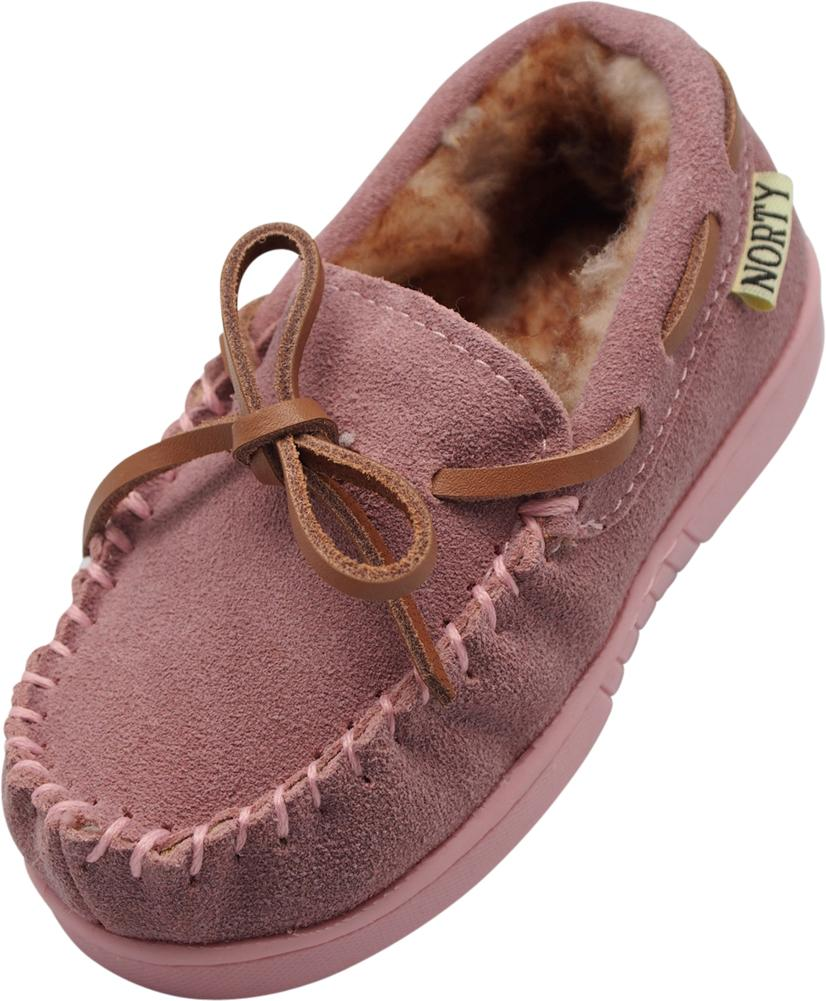 NORTY Little and Big Kids Boys Girls Unisex Suede Leather Moccasin Slip On Slippers, 40108 Baby Pink / 1MUSLittleKid