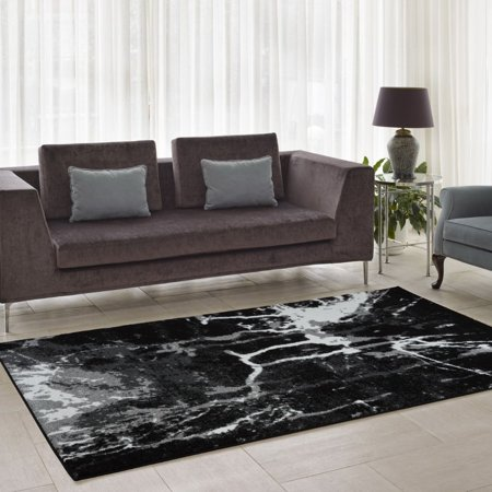 - Ladole Rugs Anise Soft Durable Art Style Abstract Modern Europe Polypropylene Area Rug Carpet in Black-White, 3x5 (2'7
