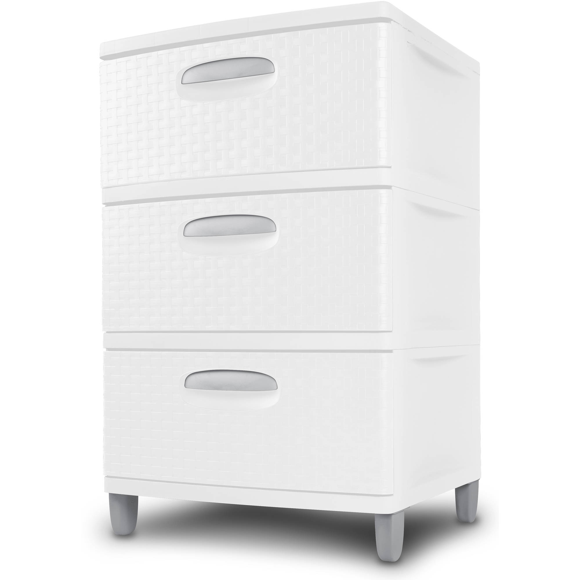 3 Drawer Wide Storage Cabinet White Plastic Weave Set Of 2