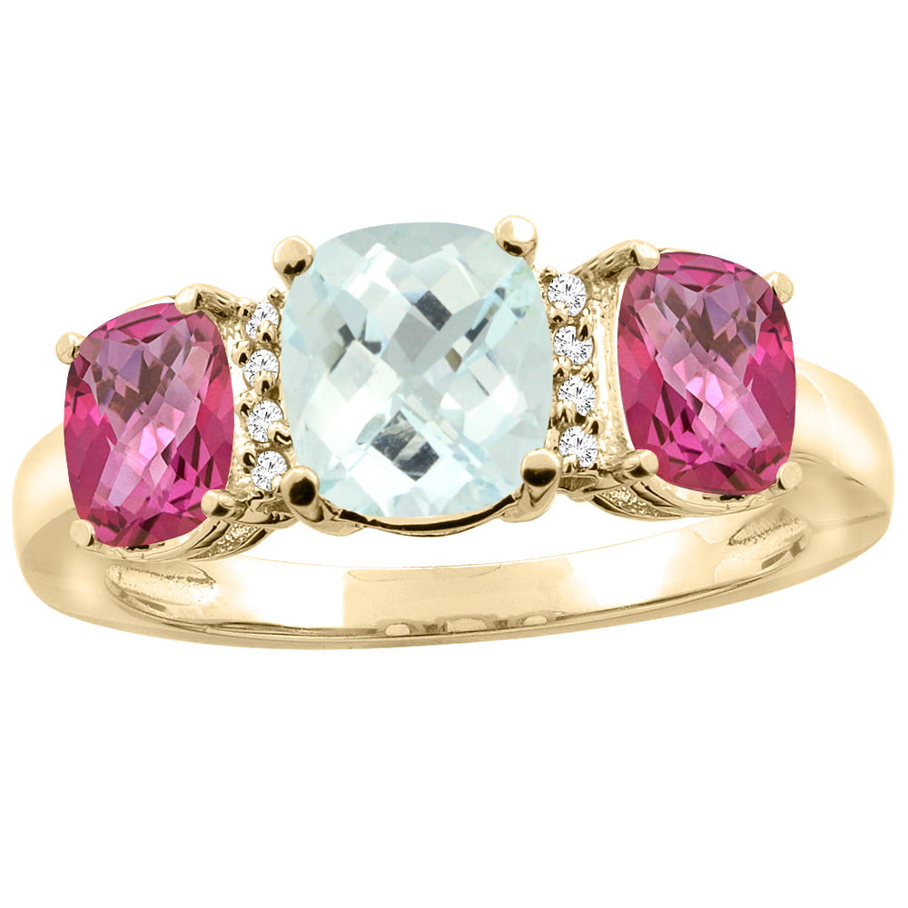 10K Yellow Gold Natural Aquamarine & Pink Topaz 3-stone Ring Cushion 8x6mm Diamond Accent, sizes 5 10 by WorldJewels