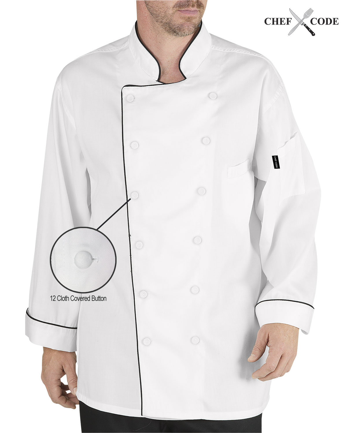Chef Code Executive Chef Coat Jacket, French Cuffs, Contrast Piping CC103 by Chef Code