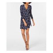ANNE KLEIN Womens Navy Floral 3/4 Sleeve V Neck Knee Length Wrap Dress Dress  Size: XS