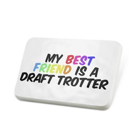 Porcelein Pin My best Friend a Draft Trotter Coldblood trotter, Horse Lapel Badge –