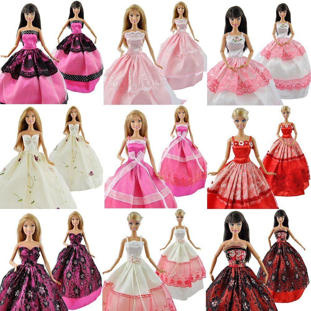 Redcolourful 5Pcs/Lot Fashion Gorgeous Princess Clothes Dresses Grows Outfit with Floral-print Voile all around for Doll Gift