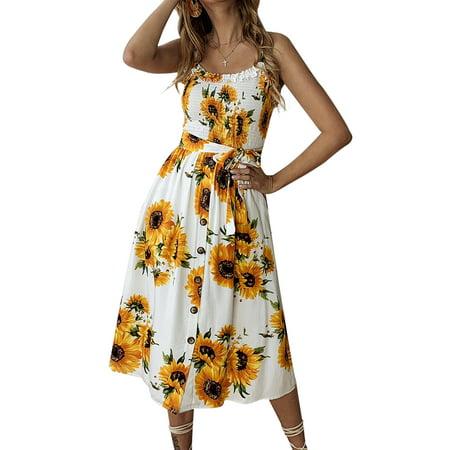 Summer Womens Ladies Floral Swing Dress Beach Holiday Bardot  Button Through Midi Sundress Waistband