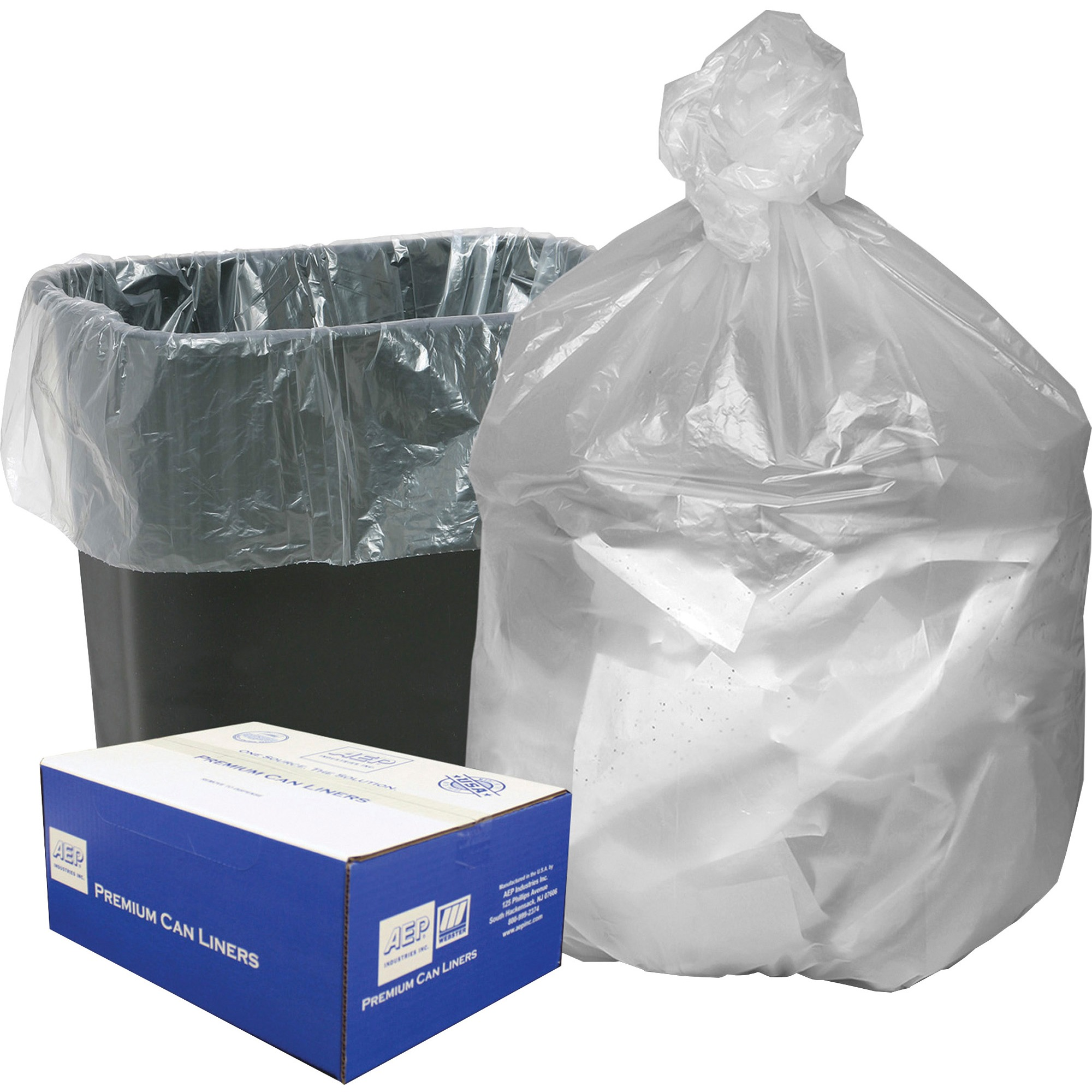 Webster, WBIHD24248N, High Density Commercial Can Liners, 1000 / Carton, Natural, 10 gal