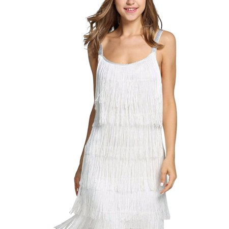 Women's Tassels Straps Dress Fashion Glam Cocktail Party Dress Gatsby Fringe Flapper Costume Dress S-2XL](Fringe Dress Flapper)