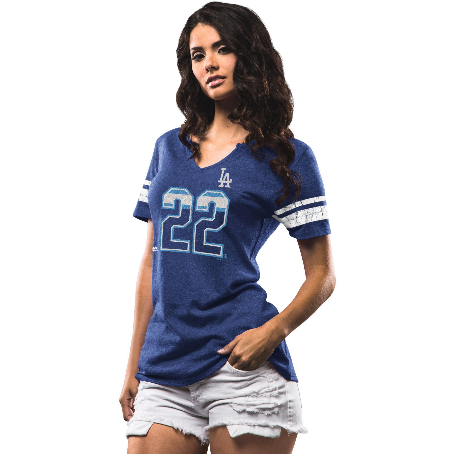 Clayton Kershaw Los Angeles Dodgers Majestic Women's Act Invincible Tri-Blend T-Shirt - Royal