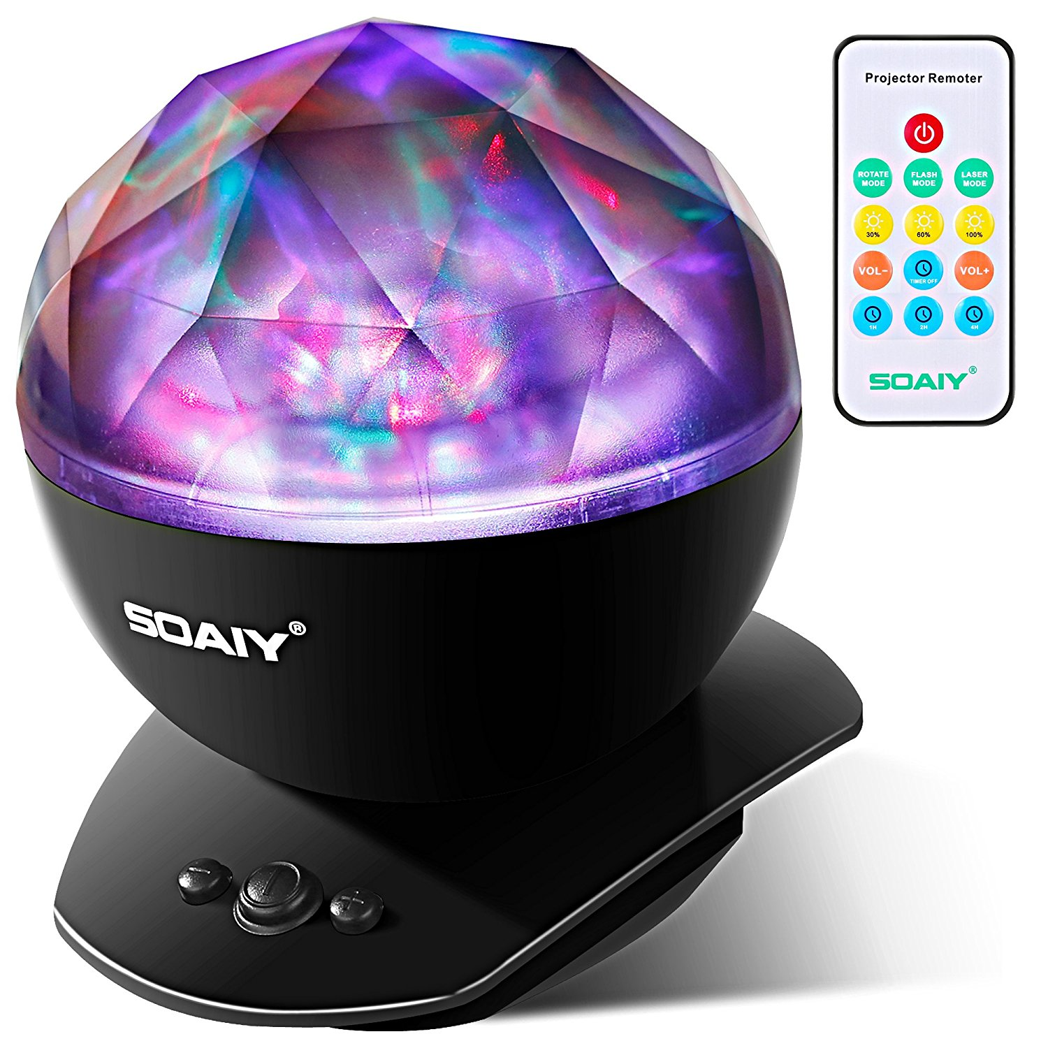 SOAIY Remote Control Ocean Wave Projector Aurora Color Changing LED Night Light Lamp with Built-in Bluetooth... by Soaiy