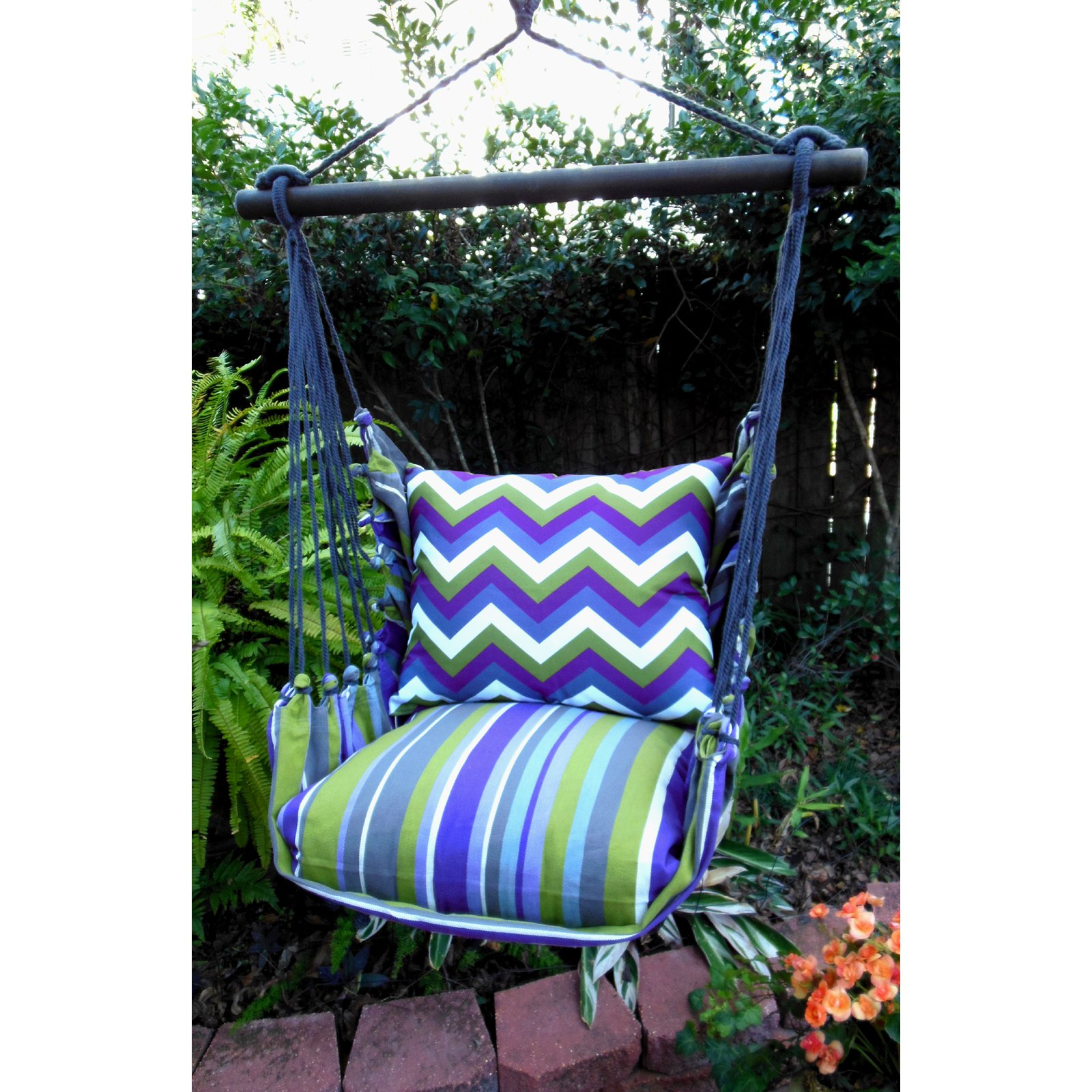 Magnolia Casual Regal Chevron Hammock Chair & Pillow Set