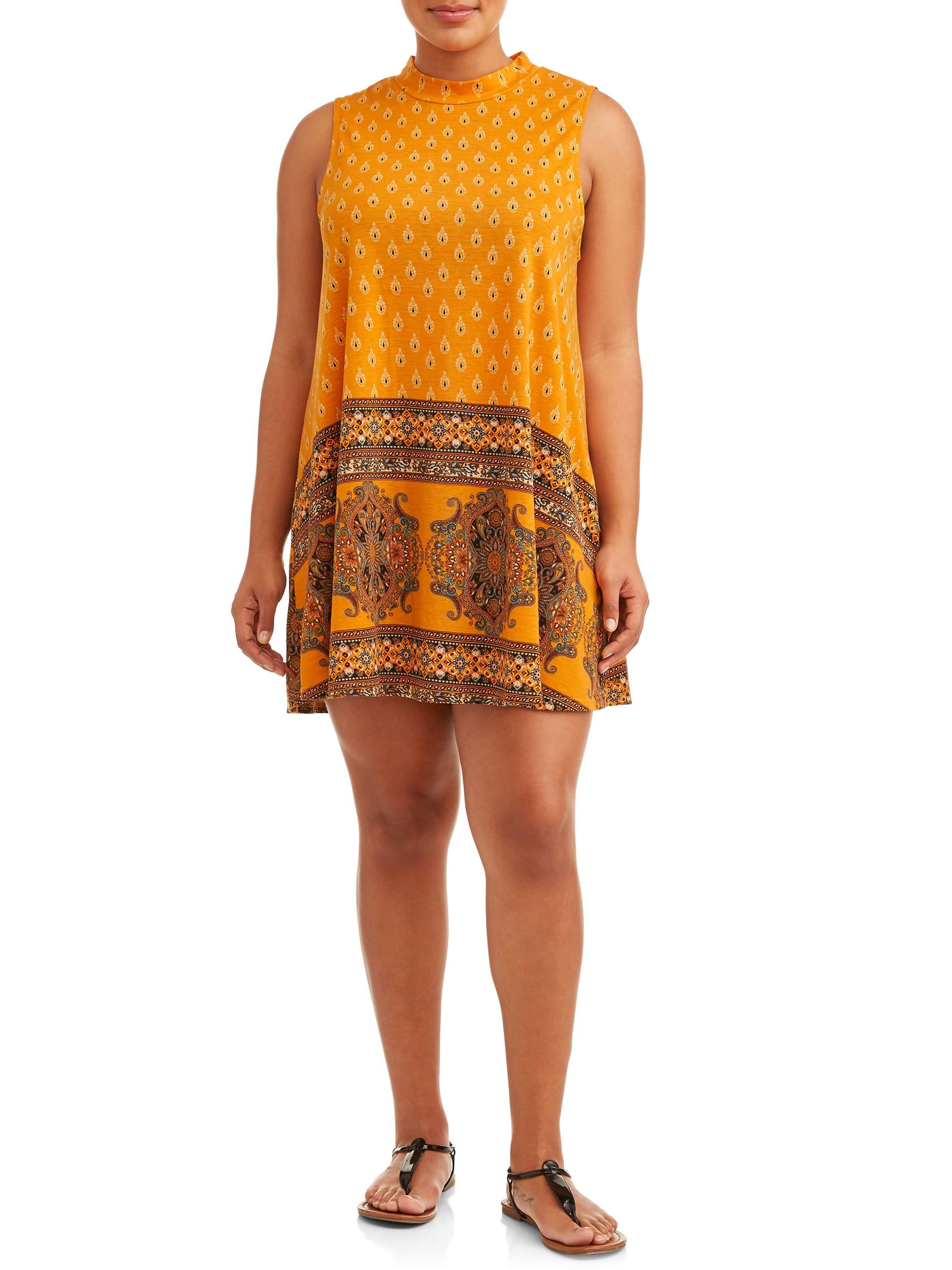 Women's Plus Size Sleeveless Printed Knit Swing Dress